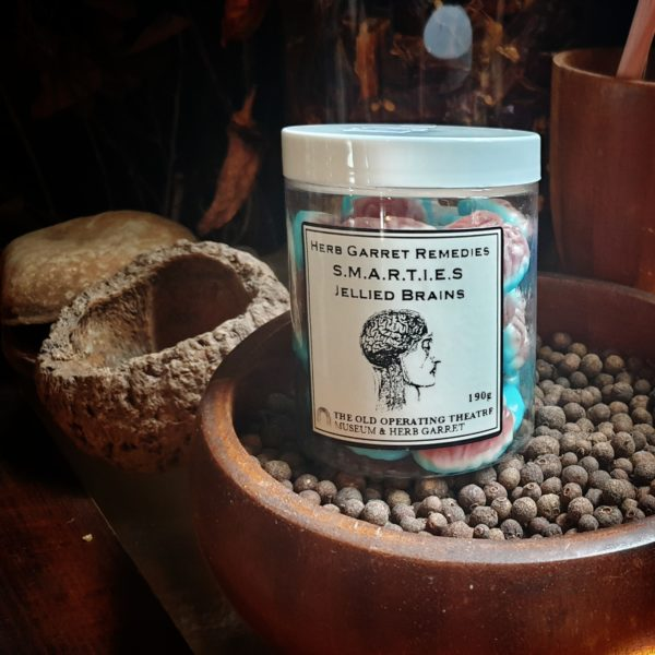 Jar of Herb Garret Remedies Candy in the shape of brains