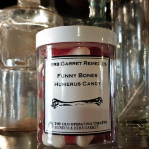 Funny Bones Humerous Candy jar set agains apothecary bottles