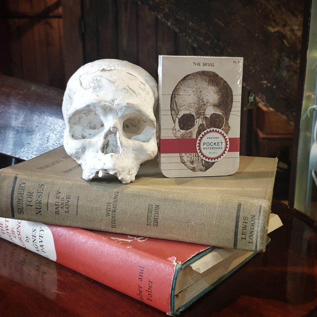 Small Notebook with skull still life.