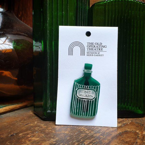 Green Belladonna Apothecary Bottle Brooch