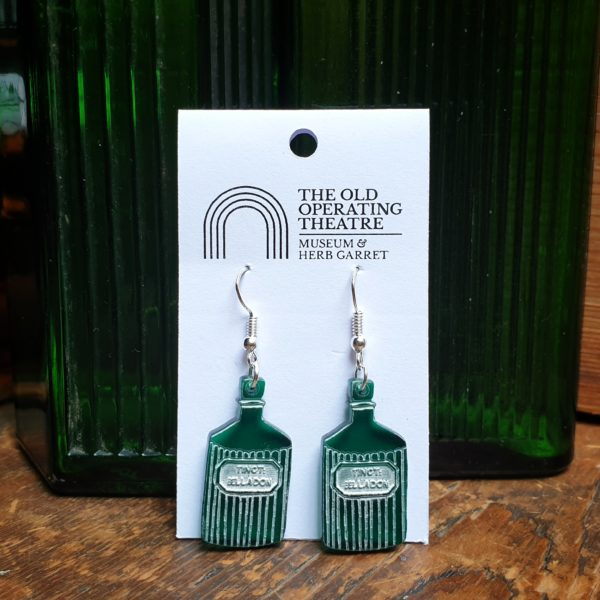 Green Belladonna apothecary bottle dangle earrings