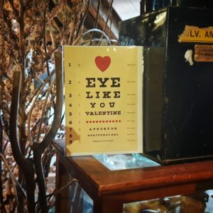 Still life with eye test greeting card